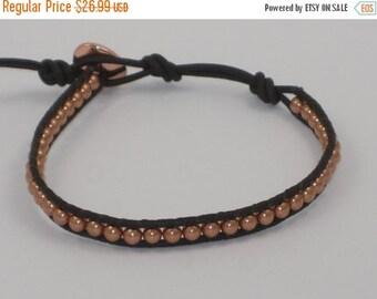 ON SALE Genuine Cooper Bead Leather Wrap Bracelet