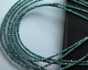 15'' Strand, Natural Rare, Sparkle Teal Blue Diamond Faceted Rondelles Size 1.8-2.5MM