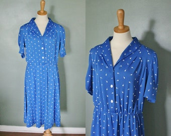 Vintage '70s Dress with White Hearts, XL