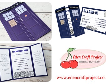 Doctor Who Whovian Geek  Wedding Invitation and RSVP - Sample