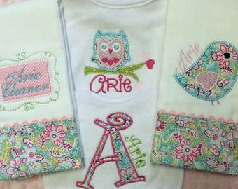 Personalized Baby Girl Burp Cloths and Bib Set