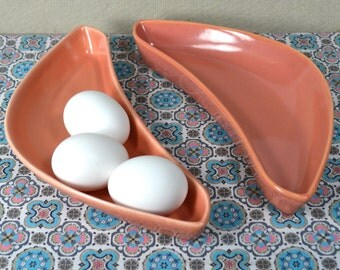 Pair Boomerang Dishes, Santa Anna Ware, Apricot Ceramic Kidneys, California Pottery, Peachy Adobe, Coral Salmon Melon, Vintage Serving Bowls