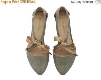 SUMMER FINAL SALE Chelsy grey dots leather sandalas/ handmade leather  flats by Tamar Shalem