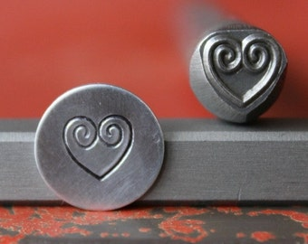 Heart w/Swirls Design Stamp Perfect for Metal Stamping and Jewelry Design Metal Work  SG375-48