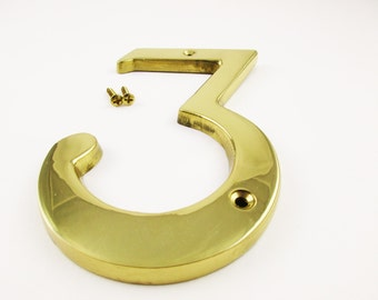"A 6"" Brass Number  -  Like New Number 3 - 6"" Tall With Brass Scews to Match - Solid Brass"