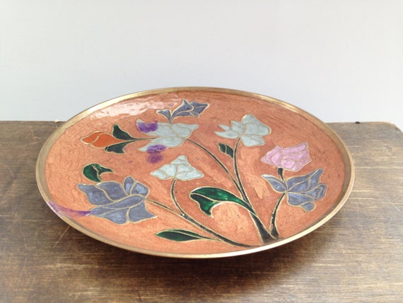 Brass Wall Plates Decor : Vintage brass wall plate enamel floral decorative