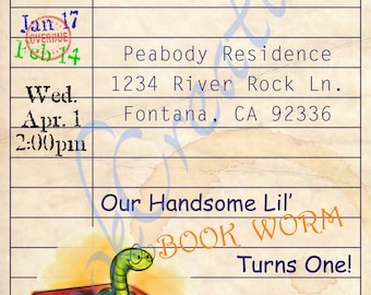 Library Card/Book theme birthday invitation *Printable*