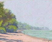 """Original Pastel Painting """"Hazy, Hot and Humid"""" by artist Colette Savage, Rochester NY, beach scene, summer vacation swimming boating"""
