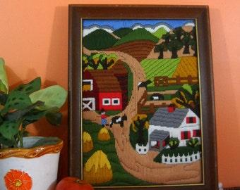 Retro Farm Needlepoint Framed Art