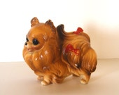 Vintage Ceramic Dog Figurine - Pomeranian with Red Bows