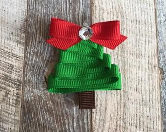 Christmas Tree Hair Clip, Christmas Hair Clip, Christmas Tree Ribbon Hair Clip, Holiday Hair Clip, Girls Hair Bows