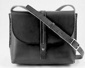 Leather Crossbody Bag, Simple, Clean Lines in BLACK