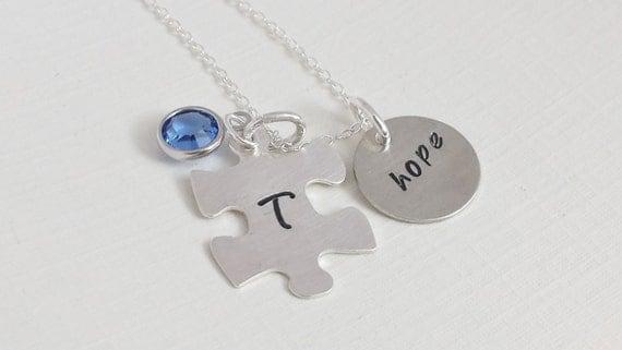 Autism Necklace/ Personalized Autism Necklace / Autism Jewelry/ Autism and Hope Necklace / Autism Awareness Necklace / Awareness Jewelry