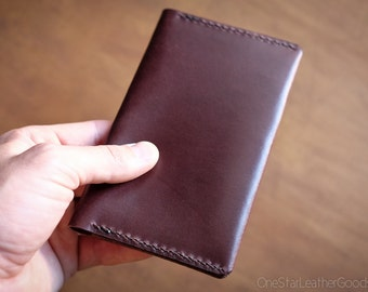 """Notebook Cover for Field Notes or other 3.5""""x5.5"""" notebook, hand stitched bridle leather - brown"""
