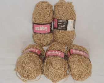 5 piece of Nubby yarn by unger beige color made in france