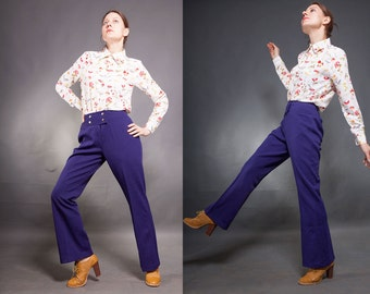 Vintage 70s purple  pants / High Waist woman Mod style polyester bootcut trousers/ S/M