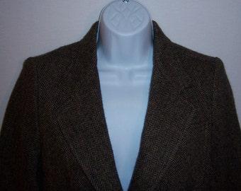 Vintage DKNY Donna Karan Wool Brown Herringbone Tweed Jacket Blazer Suit Coat 8 Hacking Equestrian Riding