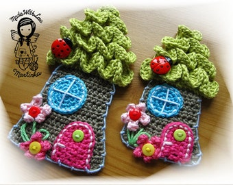 Crochet PATTERN, Applique Forest House, DIY Pattern 7, Instant Download
