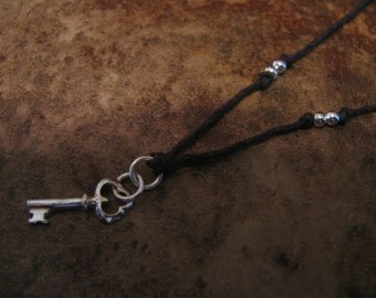 Sterling Silver and Natural Hemp Pendant Necklace Key Handmade- Toniraecreations