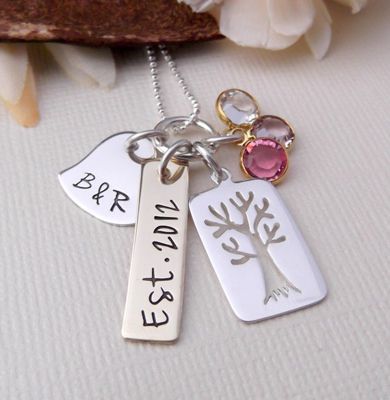 Mommy Necklace- Mixed Metal Mommy Jewelry- Family Tree Necklace- Family Necklace- Tree Of Life Necklace- Hand Stamped Jewelry- Mother's Day