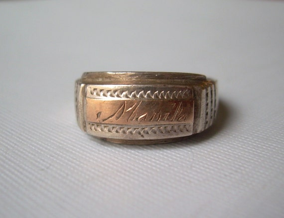 1945 wwii manila ring size 10 vintage antique by
