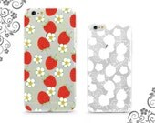 iPhone and Galaxy Soft TPU Phone Case Back Cover Protection Strawberries and Flowers UV0324