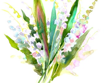 Lilies of the Valley, original watercolor painting 14 X 11 in