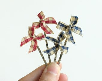 Gingham Bow Hair Pins - Red & Blue - Made of ribbon bows and bobby pins - Set of 4