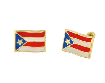 10k Yellow Gold Earrings Puerto Rico Flag Studs with Screwbacks