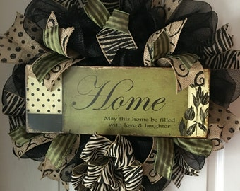 Home..May this home be filled with love & laughter..Deco Mesh and Burlap Wreath