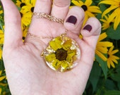 Celestial Bloom Necklace, Black Eyed Susan Jewelry, Resin Necklace, Real Flowers in Resin, Gold Flake, Pressed Flower Jewelry, Nature Lover