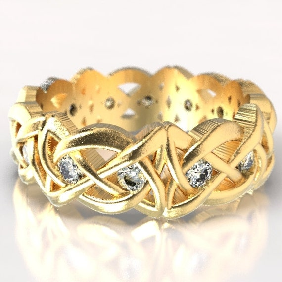 Gold Celtic Cut-Through Dara Style Knot Design with Moissanite Stones in 10K 14K 18K or Palladium, Made in Your Size Cr-1064