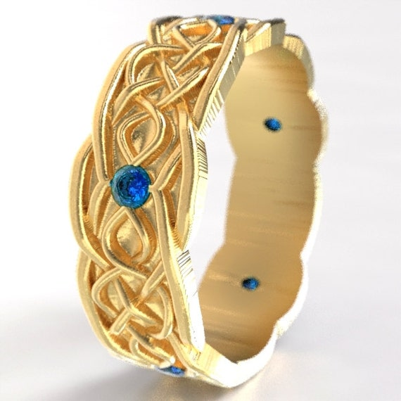 Gold Celtic Wedding Ring With Infinity Symbol Pattern & Blue Sapphire Stones in 10K 14K 18K or Palladium, Made in Your Size Cr-1050