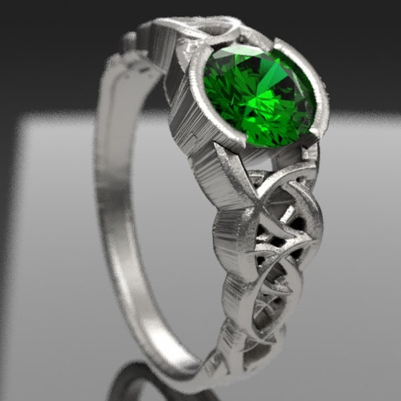 Celtic Wedding Ring With Emerald and Dara Knotwork Design in Sterling Silver, Made in Your Size CR-430