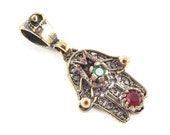 Mini Hamsa Hand of Fatima Pendant Red Green Crystal Accents and Copper Plated Dots - Antique Bronze Plated - 1PC - No:6
