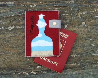 Rene Magritte Passport Holder/ Hand Embroidered Passport Cover/ Vegan gift wallet