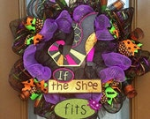 Halloween fun with a witchy side If the Shoe Fits deco mesh wreath