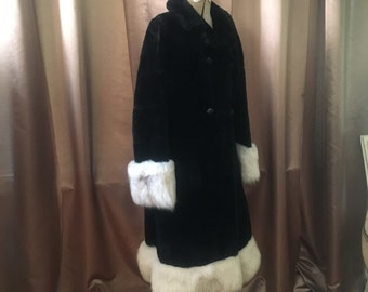 Silver Fox Fur + Black Faux Fur Russian Princess Double Breasted Long Full Length Oversized Collar Glam Dress Jacket Coat S M