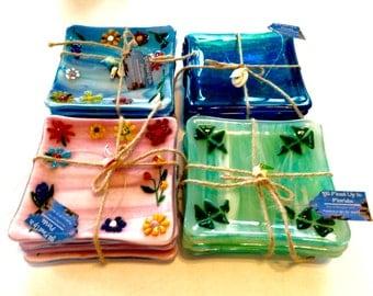 Ocean Fused Glass Dessert Plates