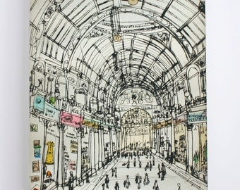 LEEDS YORKSHIRE ART Shops Canvas Print, County Arcade Leeds Shopping, Yorkshire Wall Art Signed Box Canvas Victoria Quarter Clare Caulfield