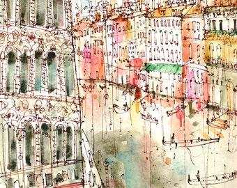 VENICE ITALY PRINT, Grand Canal Painting, Signed Art Print, Watercolor Drawing, Clare Caulfield, Venice Wall Art, Venetian Decor Gondola