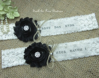 Personalized Best Day Ever- Nice Catch! Wedding Garter Set ,Rustic Wedding Garter Set,Wedding Garters