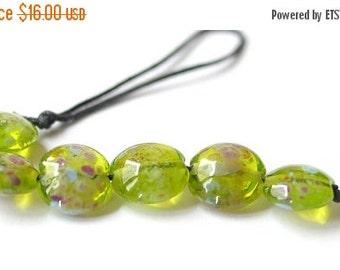 ON SALE Glass Lampwork Bead - Lentil Focal Green Multicolor