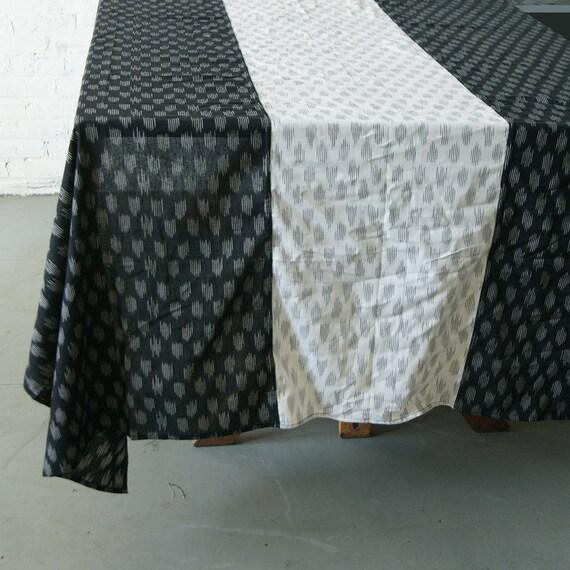 Black white polka dot cotton tablecloth handwoven ikat for Black polka dot tablecloth