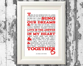 Jack Johnson - Better Together -  8x10 picture mount & Print Typography song music lyrics for self framing