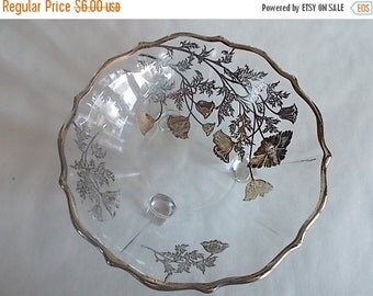 sale Vintage Glass Flowered Candy Dish