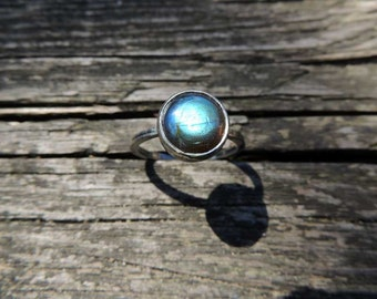 Labradorite silver ring, summer jewelry, Rings, stacking ring, gemstone ring, Sterling silver, Stackable ring by MARIAELA