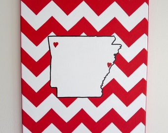 hand painted Arkansas state outline with chevron background 11X14 canvas, customizable