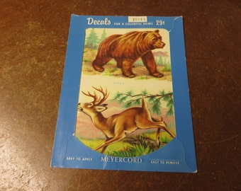 Vintage Meyercord Bear and Deer Colorful Decals