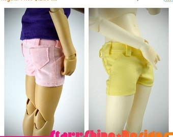 Sale 25% Off BJD MSD 1/4 Doll Clothing - Short Shorts - Your Choice of 5 Pastel Colors